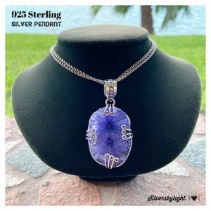 925 sterling silver purple solar quartz necklace